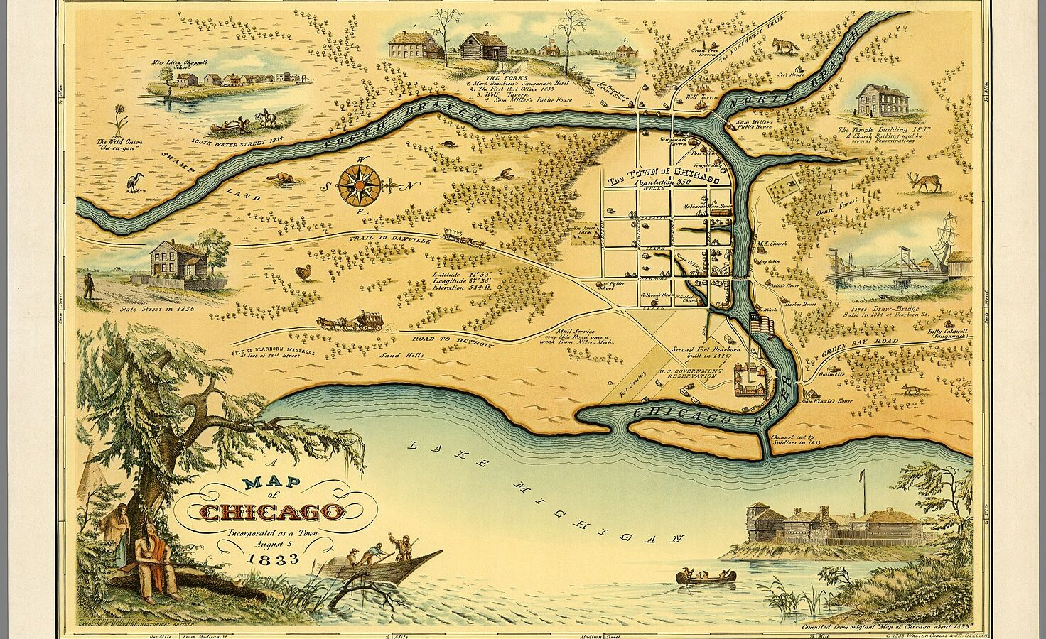 1833 Map of Chicago